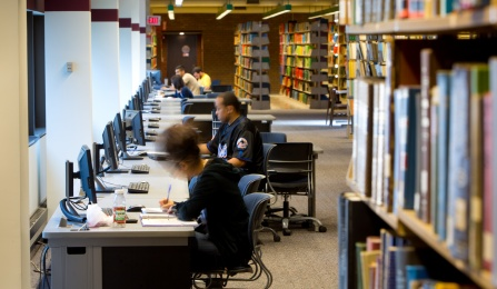Students in Lockwood Library