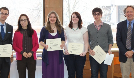 Photo of students receiving awards with faculty
