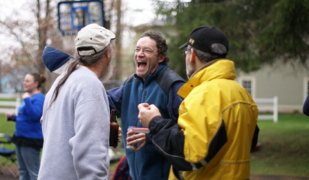 Feeley laughing at annual kickball game.