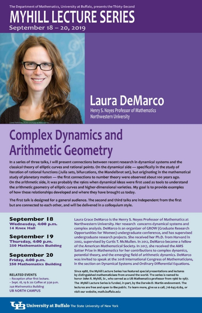 Myhill 2019 - Laura DeMarco, Henry S. Noyes Professor of Mathematics at Northwestern University.