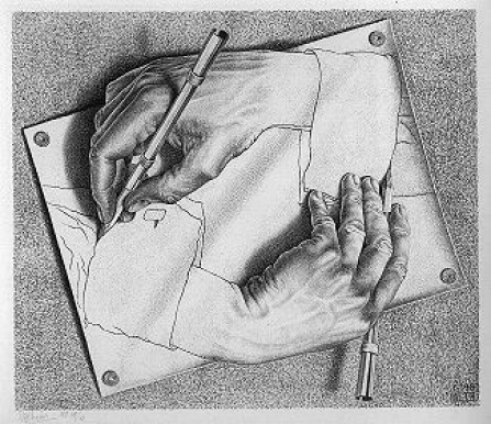 """Drawing Hands"" by M.C. Escher. Licensed under Fair use via Wikimedia Creative Commons."