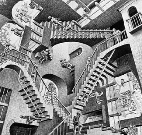 Image: Relativity by M.C. Escher. Licensed under Fair use via Wikipedia.