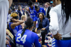 The UB women's basketball team gets a pep talk during round one of the 2019 NCAA Tournament in Storrs, Conn. Photo by Meredith Forrest Kulwicki.