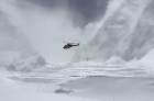 A B3 rescue helicopter hovers over Camp One on Mount Everest, two days after the earthquake. Photo: Dave Hahn
