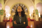 Assistant professor Ashima Krishna admires the interior of a Russian Orthodox church built in 1933 in Buffalo. Photo: Douglas Levere