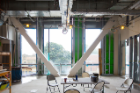 The library space. The white beams will remain exposed. Photo: Douglas Levere