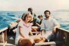 Gale Burstein taking a snorkeling break from the refugee camp with her future husband, Peter Bloom