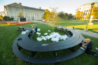 """Why?"" a companion piece to ""Whippy,"" Beitz' piece on Founders Plaza on the North Campus, is located on Diefendorf Quad."