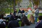 "Matthew Hume, adjunct assistant professor of architecture, finds ""Why?"" to be the perfect spot to hold class outdoors."
