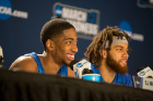 Junior guards CJ Massinburg (left) and Jeremy Harris take questions at the post-game press conference.