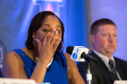 Coach Felisha Legette-Jack tears up during the press conference. The Bulls will take on Florida State in second-round action.