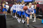 Freshman guard Hanna Hall leads the Bulls onto the court for their second-round game against Florida State.