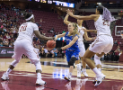 UB guard Stephanie Reid (center) passes off for the assist as she's triple-teamed by Florida State.