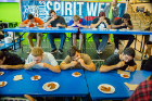 A chicken-wing-eating contest was among the Spirit Week activities for Homecoming and Family Weekend. Photo: Douglas Levere