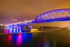 The Peace Bridge turned UB blue on Oct. 6 for Homecoming and Family Weekend. Photo: Douglas Levere