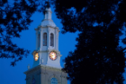 Hayes Hall clock tower at night.