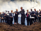 A worm's-eye view captures the October 2013 groundbreaking ceremony