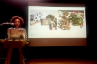 Artist-in-Residence Iman Person presenting her work at Hallwalls Contemporary Art Center, 2019.