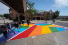 The finished product of the new rainbow crosswalk design near the Student Union and UB Commons painted in August 2019. The Office of Inclusive Excellence helped organize the design and effort. Photographer: Meredith Forrest Kulwicki