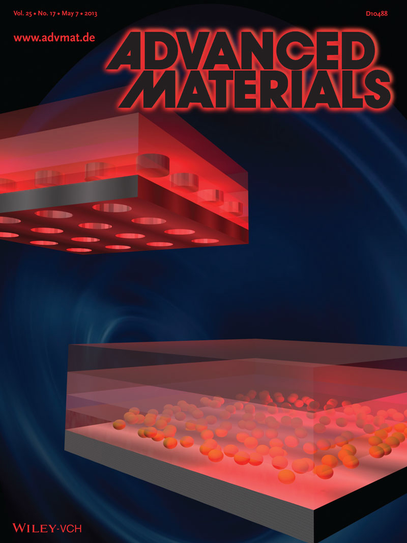 Cover of May 7 edition of Advanced Materials showing a schematic of a nanotechnology plasmonic enhanced organic solar cell
