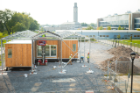 The 1,100-square-foot GRoW Home is being rebuilt behind Hayes Hall on UB's South Campus and is expected to be fully complete around mid-October. Photo: Douglas Levere