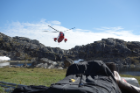 The research team traveled to isolated parts of Greenland accessible only by helicopter. Credit: Anna McKee