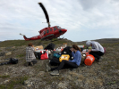 The research team traveled to isolated parts of Greenland accessible only by helicopter. Credit: Elizabeth Thomas