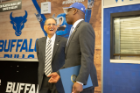 Walk to Victory sending off both the Men's and Women's Basketball teams to the first round of the 2019 NCAA Tournament. Buffalo Mayor Byron Brown proclaimed March 19, 2019 as 'UB Bulls March Madness Day.' Photographer: Meredith Forrest Kulwicki
