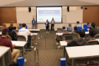 Members of the student leadership team open UB Stadium Hack 2016, which aimed to develop ideas to transform and improve stadium hospitality. Photo: The Onion Studio