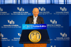 Jeremy Jacobs, chair of the UB Council, speaks at the ceremony. Photo: Douglas Levere
