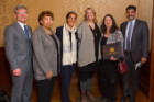 From left: Charles Zukoski, Mary Gresham, Samina Raja, Danielle Rovillo and Diane Picard of the Massachusetts Avenue Project and Venu Govindaraju, vice president for research and economic development. Photo: Douglas Levere