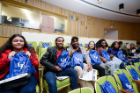 Buffalo Public Schools students sit in Hohn Auditorium at Roswell Park Cancer Institute waiting for Genome Day to begin. Photo: Dylan Buyskes