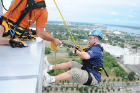 Special Olympics athlete Kevin Lowes participates in an Over the Edge at Seneca Niagara Casino. July 26, 2012.