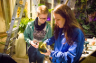 Student Katherine Metzler (left) and Lynne Koscielniak, associate professor of scenography and artistic supervisor of the UB Lumagination project, work in the greenhouse.