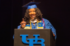 Student speaker Deidree Golbourne, '17' gives her speech at the 21st annual ALANA Celebration of Achievement in the Center for the Arts on May 18, 2017.