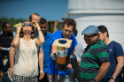 Alok Mukherjee (right, wearing hat) photographed the eclipse on the North Campus