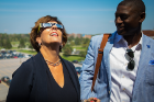 Nancy paton watching eclipse with glasses. with Allen Greene