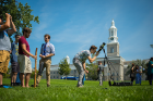 University at Buffalo Students for the Exploration and Development of Space (UB SEDS) set up a telescope on the lawn in front of Hayes Hall to observe the eclipse.
