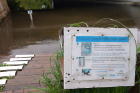 A sign on the Boyne River provides information on how passersby can contribute to a research project that uses crowdsourced data to help monitor river conditions. Photo: Damon Hall