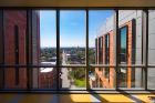 The extensive windows in the new building give faculty, staff and students a direct, visual connection with their city while illuminating interior spaces with natural light.