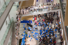 After the lighting of the Circle of Visionaries and Circle of Leaders donor walls, balloons — in traditional UB blue and white — dropped to enthusiastic applause.