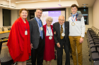 All in the family: Three generations of Levys celebrated the Harold J. Levy, MD '46 and Arlyne Levy Dean's Conference Room. From left: Betsy Doyle-Levy; Sanford Levy, MD '86; Arlyne Levy; Harold Levy, MD '46; and grandson Aaron Levy.