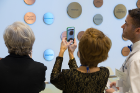 The wall honoring 175 members of the Circle of Visionaries received plenty of attention from donors and students.