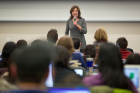 Lt. Gov. Kathy Hochul addressess students during the first day of the spring semester for the Jacobs School of Medicine and Biomedical Sciences.