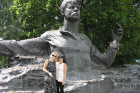 Molly Anderson (right) and her friend, Natasha, pose in front of a statue of poet Sergey Esenin, who was born in Ryazan.