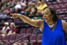 Buffalo Bulls head coach Felisha Legette-Jack directs her teams against the South Florida Bulls in the 1st half of round one of the NCAA basketball tournament in Tallahassee, FL March 17, 2018.