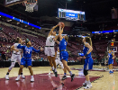 Buffalo guard Katherine Ups blocks the shot of South Florida forward Maria Jespersen in the 1st half of round one of the NCAA basketball tournament against South Florida in Tallahassee, FL March 17, 2018.