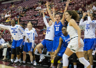 Buffalo center Cassie Oursler (31) and the rest of her team celebrates a three point shot in the second half of their 102-79 victory over the South Florida Bulls in round one of the NCAA basketball tournament in Tallahassee, FL March 17, 2018.