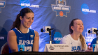 Buffalo forward Courtney Wilkins and Buffalo guard Stephanie Reid during the press conference after the Buffalo Bulls defeated the South Florida Bulls 102-79 in round one of the NCAA basketball tournament in Tallahassee, FL March 17, 2018.