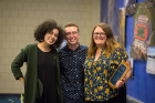 From left, Intercultural and Diversity Center Accociates Liz Humphrey and Jacob Bleasdale pose with Mak DePetrillo who received the Lavender Award.